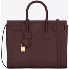 Saint Laurent Classic Small Sac De Jour Bag In Bordeaux Grained... ($2,750) ❤ liked on Polyvore