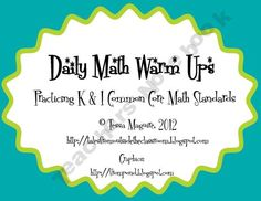 This is a 40 page packet of math warm up activities. Each page has 5 different skills. It is aligned to the Kindergarten and 1st grade Common Core standards.