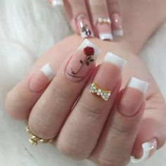 Great Ideas For Holiday Nails – NaiLovely Ruby Nails, Aycrlic Nails, Manicure And Pedicure, Swag Nails, Hair And Nails, Nail Art Designs, French Nail Designs, Ongles Forts, Romantic Nails