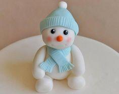 Fondant snowman cake topper snowman topper winter cake