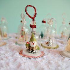 DIY Plastic wine glasses into snow globes :):