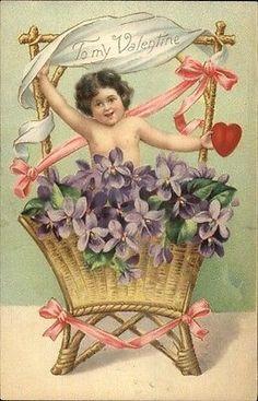 Valentine - Sweet Child in Basket of Flowers c1905 Postcard