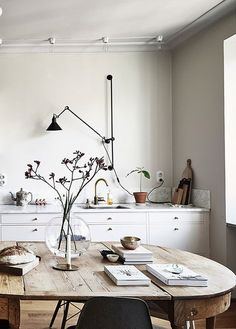 modern kitchen with industrial black wall mounted light. / sfgirlbybay modern kitchen with industrial black wall mounted light. Decoration Inspiration, Interior Inspiration, Kitchen Inspiration, Decor Ideas, Design Scandinavian, Scandinavian Kitchen, Vintage Industrial Decor, Vintage Decor, Industrial Lamps