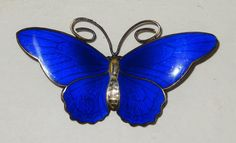 Hestenes Butterfly Brooch Sterling Dark Blue Enamel Norway