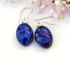 Intense Cobalt Blue Dichroic Glass Dangle Earrings on 925 Sterling Silver…