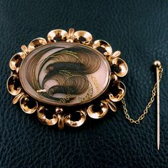 Antique Victorian 10K Memorial Hair Brooch