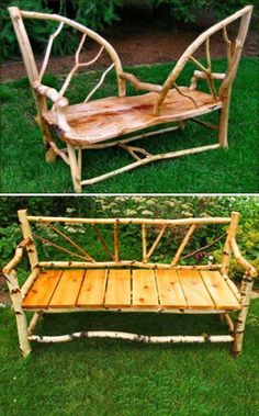 Unique handmade wooden benches for rustic backyard designs