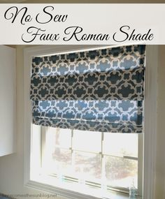 Easy No Sew Roman Shade! What an awesome idea! | herecomesthesunblog.net