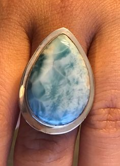 HUGE Natural Larimar Dominican Republic 7 Sterling Silver .925 Pear Shaped Ring #HandmadeByArtist #Statement
