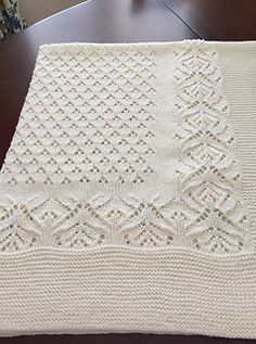 Knitting Pattern for Diamond Love Baby Blanket - Baby blanket with a design of garter stitch hearts bordered by eyelet lace diamonds. 3 sizes: Small: x Medium: x Large- x Worsted weight yarn. Designed by KnitSewMake. Baby Booties Knitting Pattern, Lace Knitting Patterns, Baby Knitting, Knitted Afghans, Knitted Baby Blankets, Baby Blanket Crochet, Diy Crafts Knitting, Diy Crafts Crochet, Free Baby Blanket Patterns
