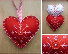 Elizabeth Louise Crafts: Christmas is a coming! Christmas Hearts, Christmas Makes, Felt Christmas, Merry Christmas, Xmas Crafts, Crafts To Make, Diy Crafts, Handmade Ornaments, Xmas Ornaments