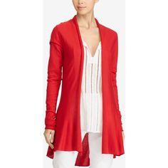 Lauren Ralph Lauren Open-Front Cardigan ($69) ❤ liked on Polyvore featuring tops, cardigans, red, light weight cardigan, open cardigan, open drape cardigan, red top and open front cardigan