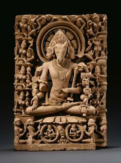 A Very rare depiction of Pashupati-Shiva with a central Antelope or Stag head surrounded by Ashtamatrikas. Indian Gods, Indian Art, Hindu Statues, Hindu Deities, Hinduism, Hindu Art, Buddhist Art, Gods And Goddesses, Ancient Art