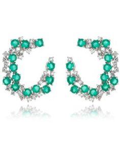brinco para festa com zirconias esmeralda e cristal com banho de rodio semi joias modernas