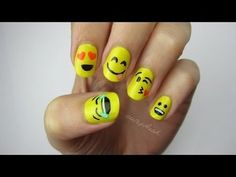 Cute Emoji Nail Art - #yellow #emoticons #emoji #nailart #nails #nailtutorial #cutepolish