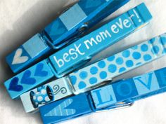 BEST MOM EVER hand painted magnetic clothespin by SugarAndPaint, $10.00