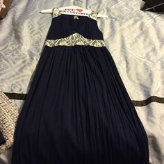 Maxi dress Navy And cream lace maxi dress. Worn once! Super comfy!! Dresses Maxi