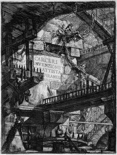 Giovanni Battista Piranesi, Carceri: tav 1 Intestazione, 1745-50, incisione, pubblicata per la prima volta a Roma.