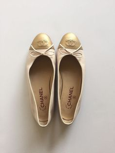 Chanel Calfskin Ballerina Flats. Pink with Gold cap toe. Size 38. Made in Italy.