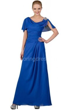Short-sleeved A-line Chiffon Dress With Beading