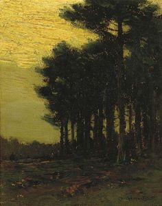 """""""A Stand of Trees at Dusk,"""" Charles Warren Eaton, oil on board, 10 x 8"""", private collection."""