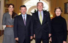 .♔♛Queen Rania of Jordan♔♛..... Rania Al Abdullah with U.S. President Bush & First Lady Laura Bush
