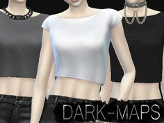 Three very basic crop tops in the colors grey, white and black. Found in TSR Category 'Sims 4 Female Everyday'