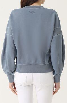 Женский голубой свитшот свободного кроя с круглым вырезом Burberry dc27f5f8fd