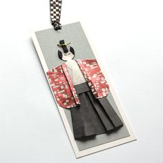 Handmade samurai paper doll origami bookmark by TeruTeruDesigns