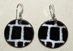 Basic black and white! Hand crafted copper enamel earrings from Roadkiln.