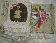 Lace Album - Shabby Chic Collage Assemblage Fabric and Lace Book - Weddings, Birthdays, Engagements