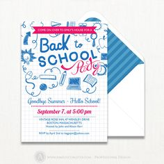 Printable Back to School party Invitation, Back to school Invite, End of Summer School Party, preschool invite, return to school digital PDF by AmeliyCom on Etsy