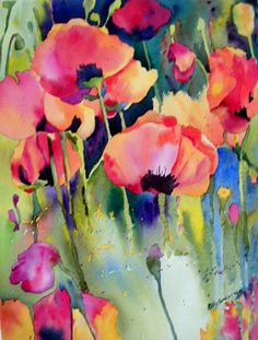 KaySmithBrushworks: Red Orange Poppy Garden Watercolor of loosely painted poppies spilling out of the garden in a wild array of colors. Watercolour Painting, Watercolor Flowers, Painting & Drawing, Garden Painting, Watercolors, Poppies Art, Watercolor Background, Red Poppies, Watercolor Tattoo