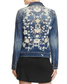 Embroidered florals cover the back of this Aqua denim jacket, infusing the quintessential tough-girl style with a dose of modern femininity. | Cotton/spandex | Machine wash or hand wash | Imported | F