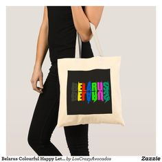 Belarus Colourful Happy Letters Tote Bag Cute Tote Bags, Reusable Tote Bags, Party Hats, Funny Cute, Kids Shop, Letters, Happy, Color, Fashion