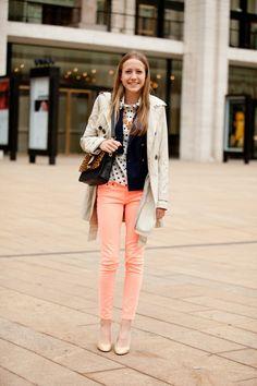 peach pants, polka dot shirt, black vest, off white coat Fashion Week 2015, New York Fashion, Star Fashion, Fall Fashion, Peach Pants, Pink Pants, Orange Pants, Summer Outfits, Peach Outfits