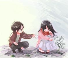 Mikasa and Eren, so cute Attack On Titan Hoodie, Attack On Titan Eren, Attack On Titan Ships, Attack On Titan Fanart, Armin, Mikasa X Eren, Tokyo Ghoul, Anime Love, Anime Manga