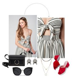 """""""#OOTD ft. Striped Bow Midi Dress"""" by shopluzzo on Polyvore featuring Steve Madden, summerfashion and mididress"""