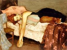 Malcolm Liepke - USA Malcolm T Liepke (born is an American painter born in Minneapolis, Minnesota.He studied at the Art Center Co. Malcolm Liepke, Figure Painting, Painting & Drawing, She And Her Cat, Sleeping Women, Wow Art, American Artists, Figurative Art, Contemporary Artists