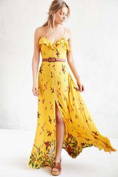 Kimchi Blue La Playa Button-Down Yellow Maxi Dress