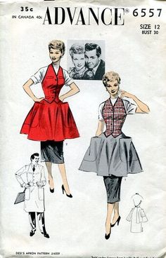 """featuring Lucille Ball and Desi Arnaz. Produced during the height of the I Love Lucy television show's popularity and """"Sold under license from Lucille Ball and Desi Arnaz"""" Vintage Apron Pattern, Retro Apron, Aprons Vintage, Vintage Sewing Patterns, Apron Patterns, Vogue Patterns, Dress Patterns, Lucille Ball, Vintage Outfits"""