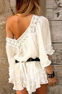 white lace trimmed off the shoulder dress-