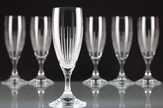 6 Vintage Sektgläser Kristall Gläser Linien Strahlen Gravur Schliff ~ 60er K26