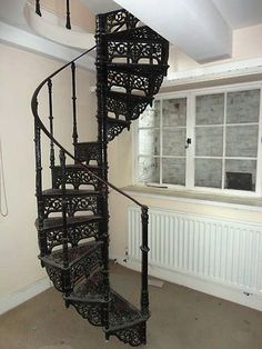 Antique Cast Iron Spiral Staircase With Balcony