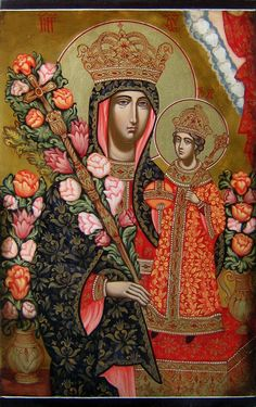 Virgin Mary The Unfading Blossom, The Fragrant Flower Hand painted orthodox icon, Russian orthodo Religious Icons, Religious Art, Art Roman, Madonna Art, Peter Paul Rubens, Byzantine Icons, Orthodox Icons, Angel Art, Sacred Art