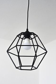 DIY Geometric Pendant Light Fixture | Pearls and Scissors
