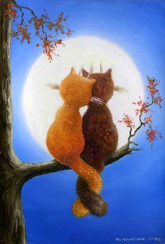 "Zhui star diy Diamond embroidery "" Lover Cats"" diamond painting Cross Stitch full drill Rhinestone mosaic home decoration Art Mignon, Holly Hobbie, Moon Art, Cat Drawing, Cat Love, Cool Cats, Cat Art, Cats And Kittens, Illustration Art"