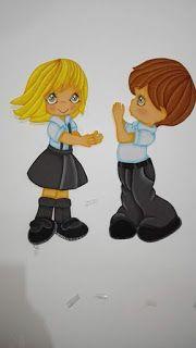 06eb2ebf5b9 Moldes de colegiales | EL TALLER DE LUCIA Salones De Preescolar, Niños  Escolares, Decoración