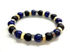 Cool Men's Bead Bracelet. Stone Jewelry. Black Onyx by pearlatplay