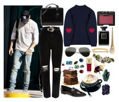 """Hiding from Paparazzi with Liam"" by phenomeniall-style ❤ liked on Polyvore featuring Ray-Ban, Payne, River Island, Kate Spade, Mark Cross, Chanel, NARS Cosmetics, MIANSAI, ...Lost and Swarovski"